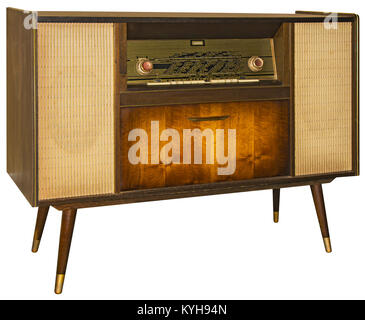 Vintage Wooden Radio Apparatus Isolated with Clipping Path - Stock Photo