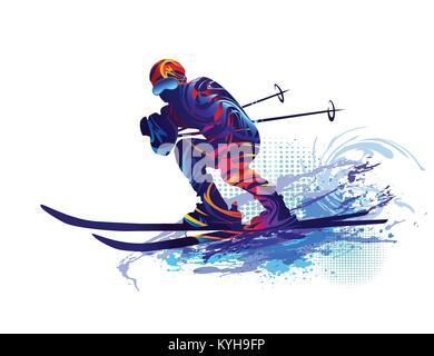 Skier. Vector illustration - Stock Photo