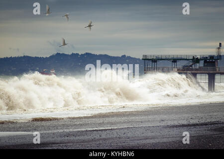 Dramatic weather - a storm on the sea, waves break about the pier, birds fly in the sky. - Stock Photo