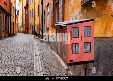 Stockholm Sweden quaint mailbox on a cobblestone street in the picturesque historic district called Gamla Stan, - Stock Photo