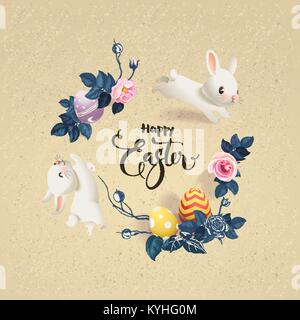 Happy Easter inscription surrounded by decorated eggs, cute white bunnies and beautiful half colored rose flowers. - Stock Photo