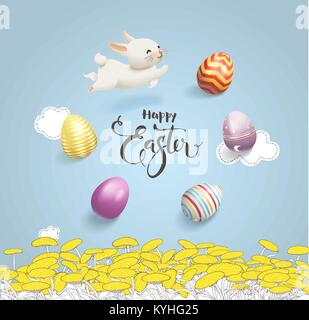 Happy Easter inscription handwritten with calligraphic font surrounded by colorful decorative eggs and cute white - Stock Photo