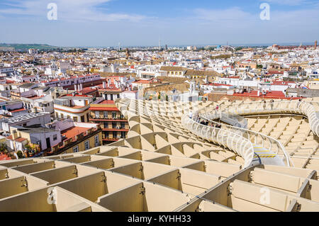 Aerial view from the Metropol Parasol, a modern building in the Andalusian city of Seville in Spain - Stock Photo