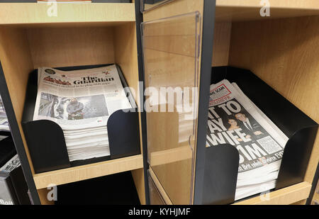 The Guardian on sale at a shop in London. The newspaper has unveiled its new tabloid look, with its publisher aiming - Stock Photo