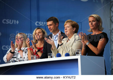 German Chancellor, Angela Merkel, takes part in a podium event in Erlangen Germany - Stock Photo