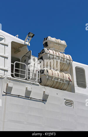 Inflatable Liferafts in Hard Shelled Canister at Big Ship - Stock Photo