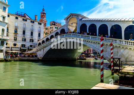 The Rialto Bridge over the Grand Canal, Venice, Italy. 2017. - Stock Photo