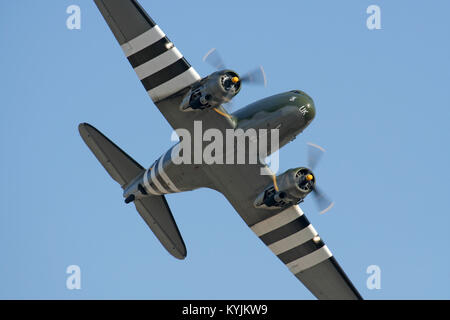C-47 Skytrain (DC-3 Dakota) vintage propeller plane of the Royal Air Force Battle of Britain Memorial Flight in - Stock Photo
