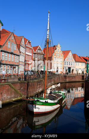 Ewer WILLI in the historic Harbor, Stade, Altes Land, Lower Saxony, Germany - Stock Photo