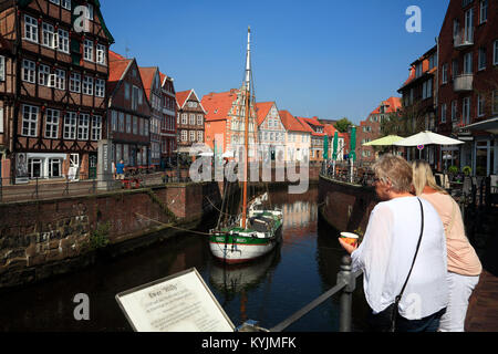 Ewer WILLI in the historic, Harbor, Stade, Altes Land, Lower Saxony, germany - Stock Photo