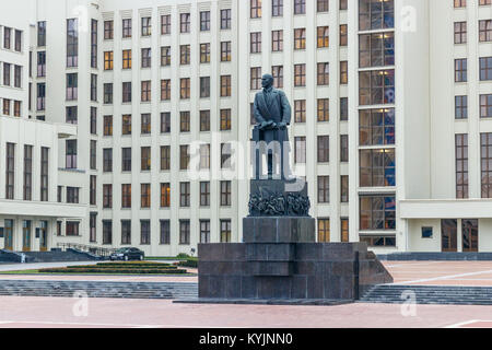 Independence Square with the Lenin monument in front of the House of Government, MInsk, Belarus