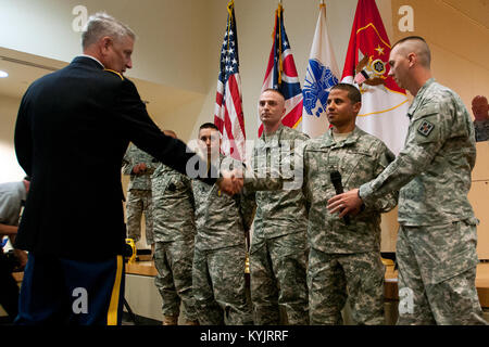 Sgt. Maj. of the Army Raymond F. Chandler III paid a visit to Soldiers at an Ohio National Guard armory in Cincinnati, - Stock Photo