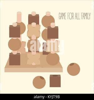 Wooden 3-D tic tac toe strategy board game - Stock Photo