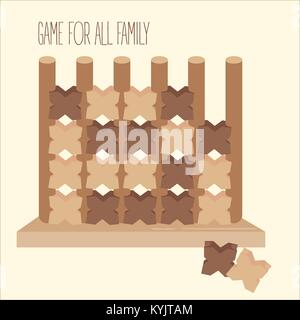 Wooden tic tac toe strategy board game - Stock Photo