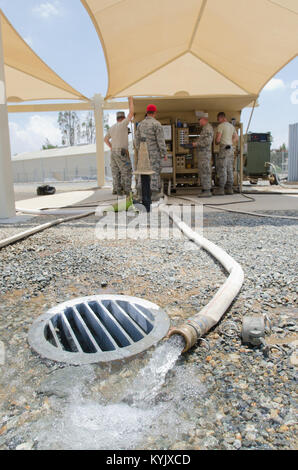 Members of the utilities shop in the Kentucky Air National Guard's 123rd Civil Engineer Squadron utilize a reverse - Stock Photo
