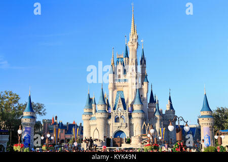 Cinderella Castle in Magic Kingdom, Disney, Orlando, Florida - Stock Photo