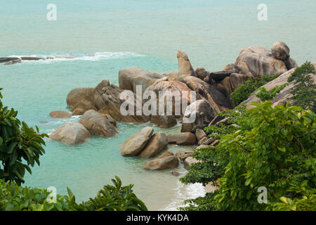 Hin Ta and Hin Yai Rocks or grandmother and grandfather rocks in Koh Samui - Stock Photo