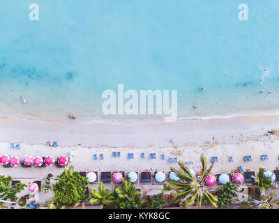 aerial landscape of beautiful tropical beach, top view from drone - Stock Photo