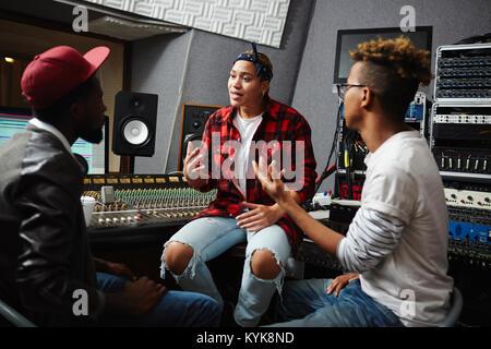 Talk in studio - Stock Photo