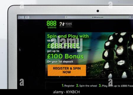888.com online casino site. - Stock Photo