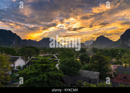 Viewpoint and beautiful Landscape in sunset at Vang Vieng, Laos. - Stock Photo
