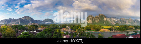 Panorama viewpoint and beautiful landscape at Vang Vieng, Laos. - Stock Photo