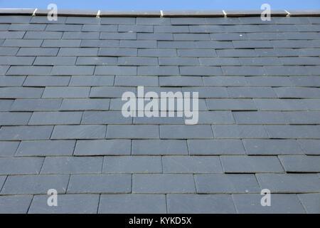 Slate roof tile pattern full frame background close up - Stock Photo