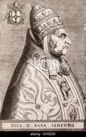 Pius II, born Enea Silvio Bartolomeo Piccolomini 1405 – 14 August 1464, was Pope from 1458 to his death - Stock Photo