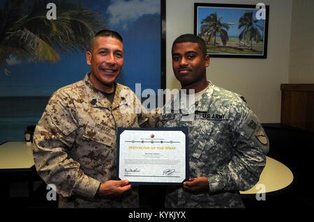 U.S. Marine Corps. Sgt. Maj. Juan Hidalgo, Jr., Senior Enlisted Leader at U.S. Naval Station Guantanamo Bay, Cuba, - Stock Photo