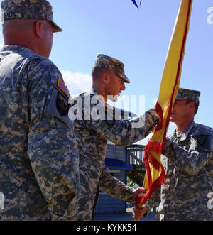 Lt. Col. David Reed (right) of Florence, Ky. receives the 103rd Brigade Support Battalion, 138th Fires Brigade's - Stock Photo