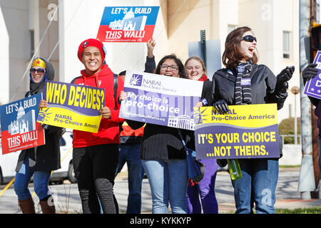 Raleigh, North Carolina. 13th January, 2018. Pro-Choice demonstration during a Pro-Life rally. - Stock Photo