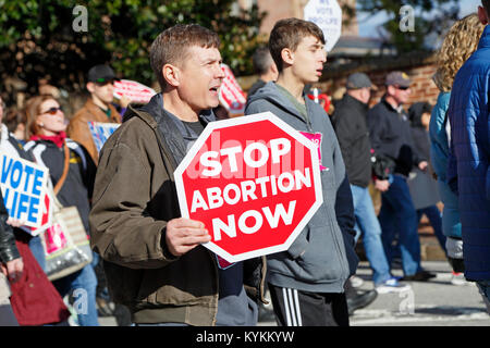 Raleigh, North Carolina. 13th January, 2018. Pro-life rally and demonstration in downtown Raleigh. Man shouting - Stock Photo