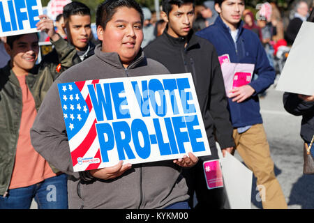 Raleigh, North Carolina. 13th January, 2018. Pro-life rally and demonstration in downtown Raleigh. - Stock Photo