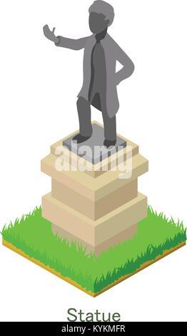Statue icon, isometric style. - Stock Photo