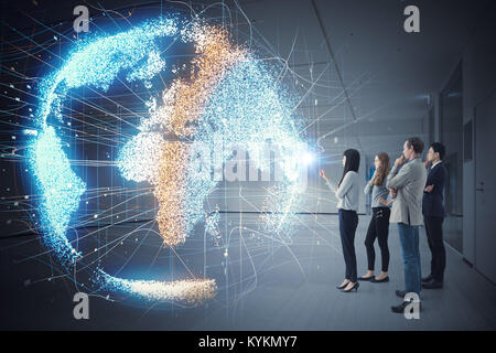 Group of people watching holographic of the earth. Astronomy concept. - Stock Photo