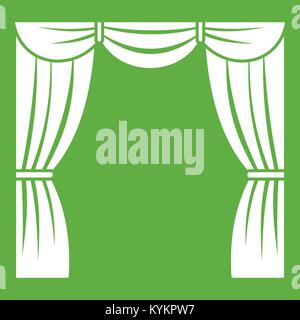 Curtain on stage icon green - Stock Photo