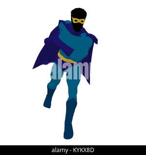 Super hero silhouette on a white background - Stock Photo