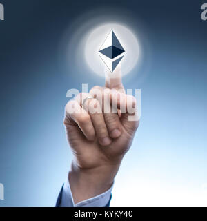 hand man touch the ripple icon - Stock Photo