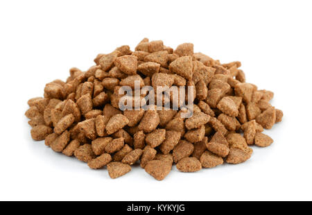 Pile of dry cat food isolated on white - Stock Photo