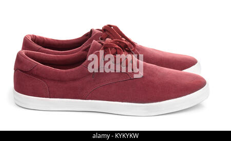 Pair of male suede shoes isolated on white - Stock Photo