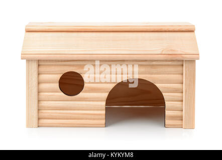 Front view of pet wooden house isolated on white - Stock Photo