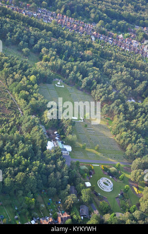 Aerial view of the Brookwood Military Cemetery near Pirbright in Surrey, England, UK. Brookwood 1939 1945 Memorial - Stock Photo