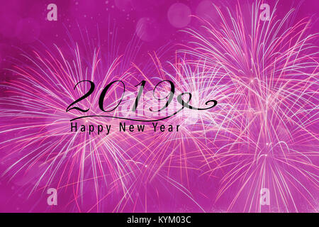 Fireworks against a pink background with bokeh and falling snow effect. Happy New Year 2019 quote. - Stock Photo