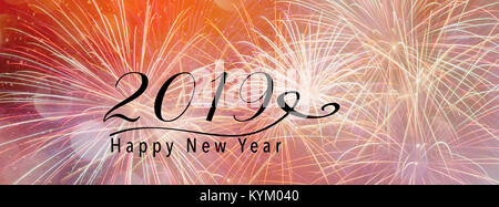 Fireworks against a pink backdrop with bokeh and falling snow effect. Panoramic banner style. Scales down to fit - Stock Photo