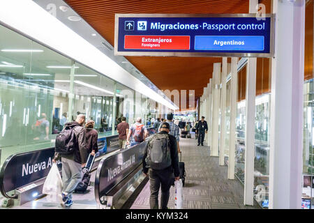 Argentina, Buenos Aires, Ministro Pistarini International Airport Ezeiza EZE, terminal, moving sidewalk, walkway, travellator, sign, Spanish, English,