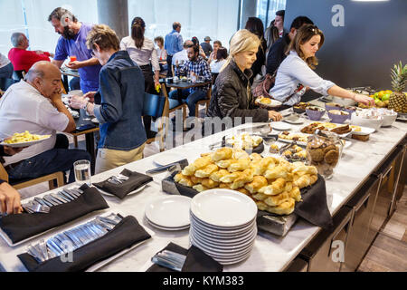 Buenos Aires Argentina Palermo Dazzler Polo hotel dining room free breakfast buffet croissant self-service guests - Stock Photo