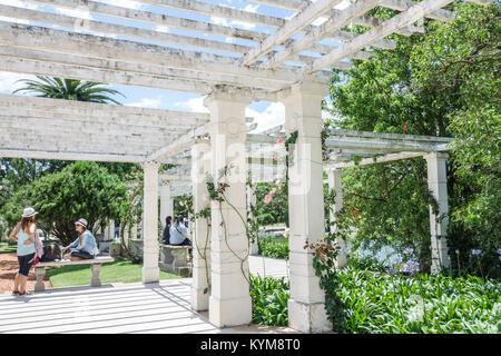 Buenos Aires Argentina Bosques de Palermo Parque 3 de Febrero Rosedal rose garden pergola column bench Hispanic - Stock Photo