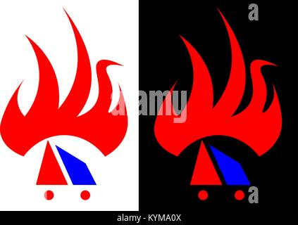 abstract flame, isolated and against a dark background design business logo - Stock Photo