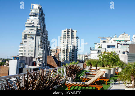 Buenos Aires Argentina Palermo Dazzler Polo hotel rooftop terrace city skyline view apartment building architecture - Stock Photo