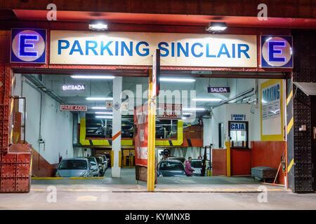 Buenos Aires Argentina,Palermo,night evening,Sinclair Parking,parking,garage,entrance,indoor,car park,sign,Hispanic,ARG171119219